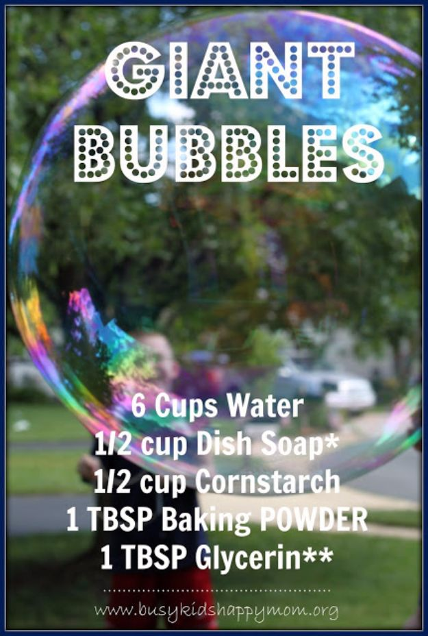 DIY Hacks for Summer - Make Giant Bubbles - Easy Projects to Try This Summer To Get Organized, Spend Time Outdoors, Play With The Kids, Stay Cool In The Heat - Tips and Tricks to Make Summertime Awesome - Crafts and Home Decor by DIY JOY http://diyjoy.com/diy-hacks-summer