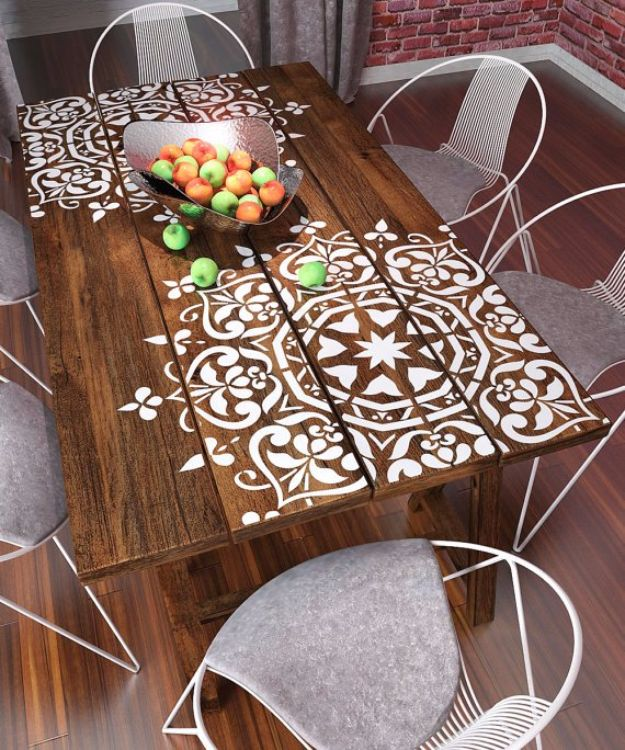 DIY Stencil Ideas - Mandala Stencil Pallet Table - Cool and Easy Stenciling Tutorials For Making Handmade Wallpaper and Designs, Furniture Makeover Ideas and Crafty Modern Decor With Stencils - Rustic Farmhouse Paint Techniques and Step by Step Instructions for Using Stencil Art in Your Living Room, Bedroom, Bathroom and Crafts http://diyjoy.com/diy-stencil-ideas-projects