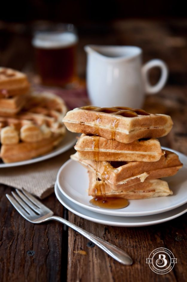 Best Recipes Made With Beer - Maple Bacon Beer Waffles - Easy Dinner, Lunch and Snack Recipe Ideas Made With Beer - Food for the Slow Cooker and Crockpot, Meat and Chicken Dishes, Appetizers, Homemade Pretzels, Summer BBQ Sauces and PArty Food Ideas http://diyjoy.com/best-recipes-made-with-beer