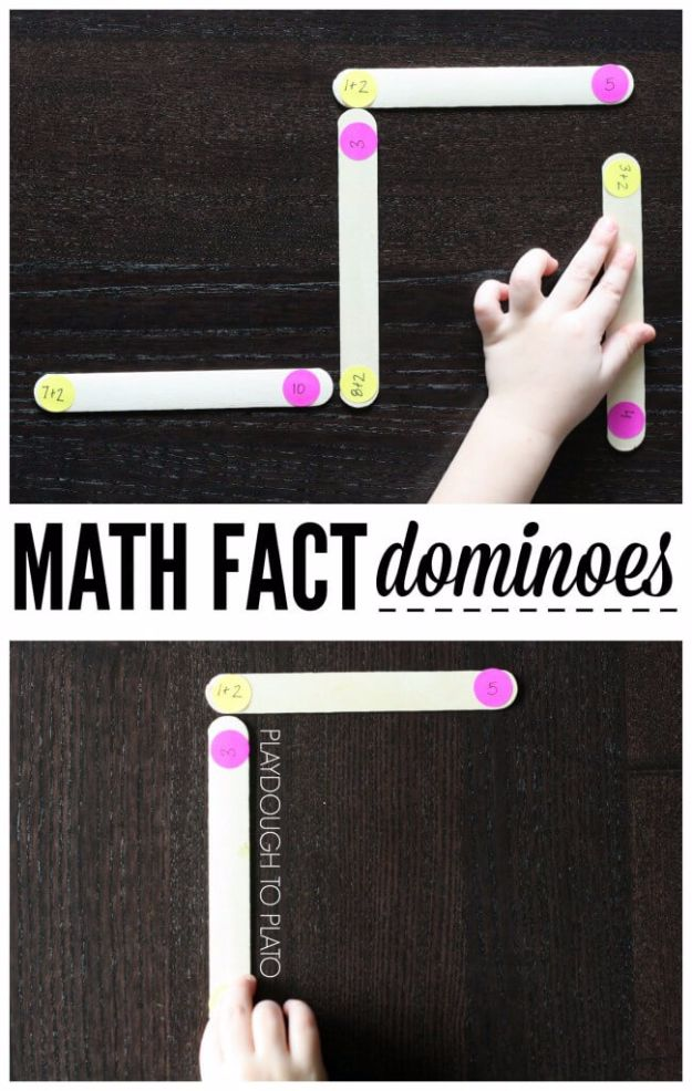 DIY Stem and Science Ideas for Kids and Teens - Math Fact Dominoes - Fun and Easy Do It Yourself Projects and Crafts Using Math, Electronics, Engineering Concepts and Basic Building Skills - Creatve and Cool Project Tutorials For Kids To Make At Home This Summer - Boys, Girls and Teenagers Have Fun Making Room Decor, Experiments and Playtime STEM Fun #stem #diyideas #stemideas #kidscrafts