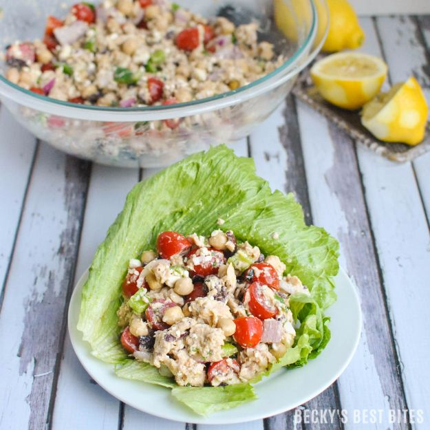 Best Recipe Ideas for Summer - Mediterranean Tuna Lettuce Wraps - Cool Salads, Easy Side Dishes, Recipes for Summer Foods and Dinner to Beat the Heat - Light and Healthy Ideas for Hot Summer Nights, Pool Parties and Picnics http://diyjoy.com/best-recipes-summer