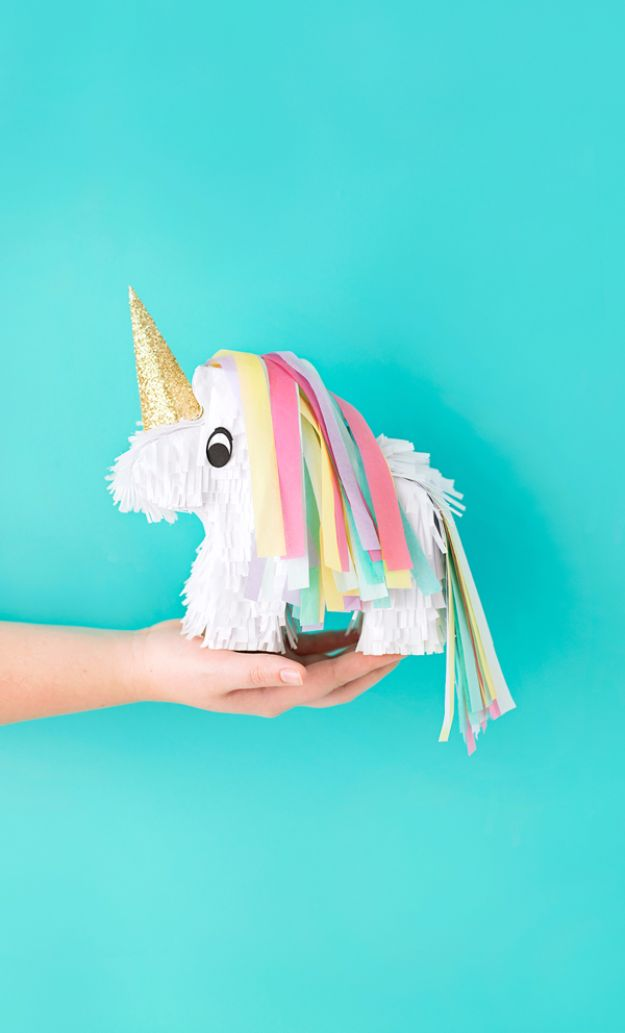 DIY Backyard Party Decor - Miniature Unicorn Piñata - Cool Ideas for Decorations for Parties - Easy and Cheap Crafts for Summer Barbecues and Family Get Togethers, Swimming and Pool Party Fun - Step by Step Tutorials For Banners, Table Decor, Serving Ideas and Mason Jar Crafts http://diyjoy.com/diy-backyard-party-decor