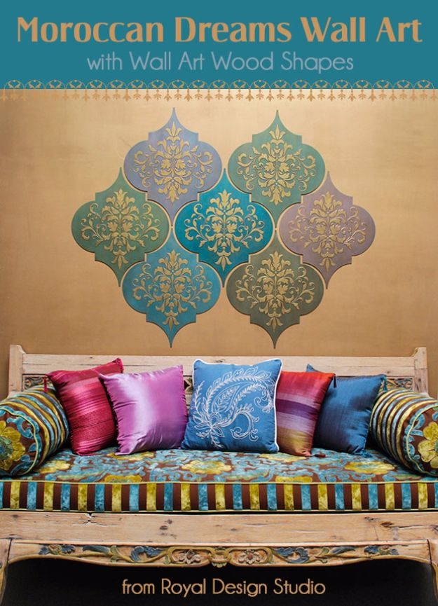DIY Stencil Ideas - Moroccan Dreams Wall Art - Cool and Easy Stenciling Tutorials For Making Handmade Wallpaper and Designs, Furniture Makeover Ideas and Crafty Modern Decor With Stencils - Rustic Farmhouse Paint Techniques and Step by Step Instructions for Using Stencil Art in Your Living Room, Bedroom, Bathroom and Crafts http://diyjoy.com/diy-stencil-ideas-projects