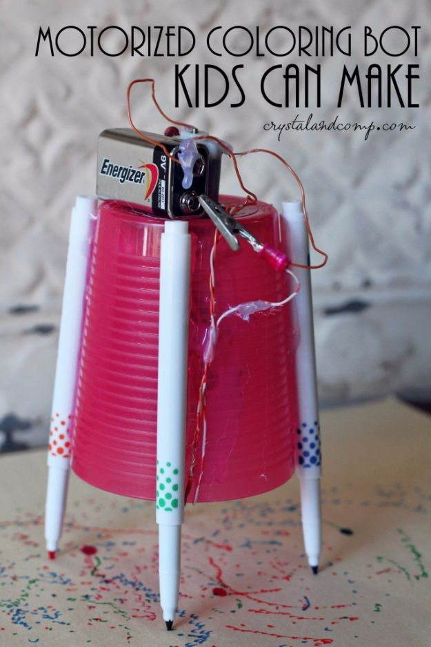 DIY Stem and Science Ideas for Kids and Teens - Motorized Coloring Machine - Fun and Easy Do It Yourself Projects and Crafts Using Math, Electronics, Engineering Concepts and Basic Building Skills - Creatve and Cool Project Tutorials For Kids To Make At Home This Summer - Boys, Girls and Teenagers Have Fun Making Room Decor, Experiments and Playtime STEM Fun http://diyjoy.com/diy-stem-science-projects