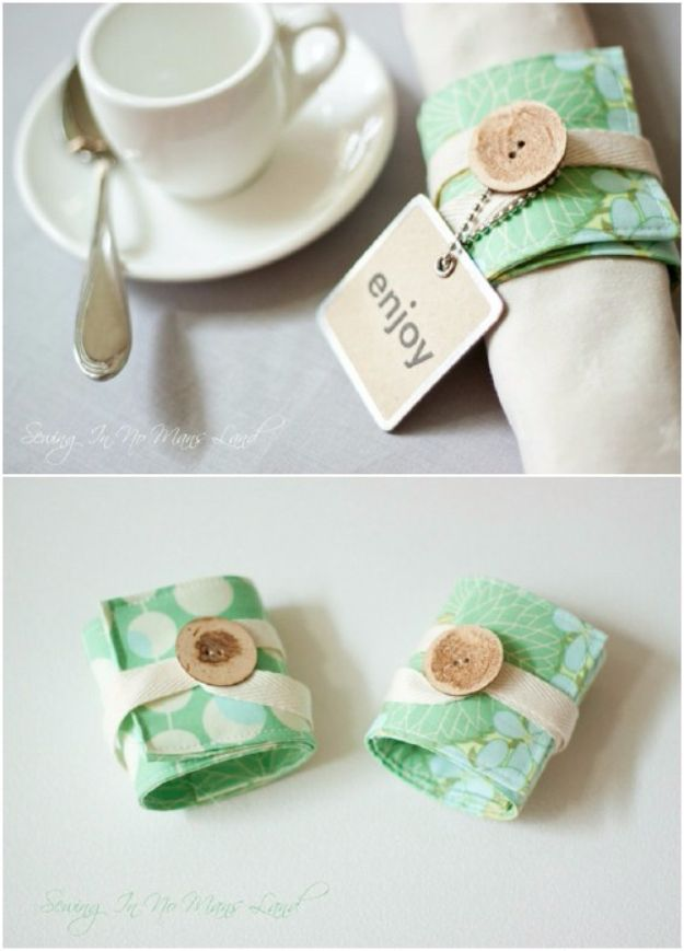 Best Quilting and Fabric Scraps Projects - Napkin Rings - Easy Ideas for Making DIY Home Decor, Homemade Gifts, Wall Art , Kitchen Accessories, Clothes and Fashion from Leftover Fabric Scrap and Quilt Pieces - Cute Do It Yourself Ideas for Birthday, Christmas, Baby and Friends http://diyjoy.com/quilting-scraps-projects