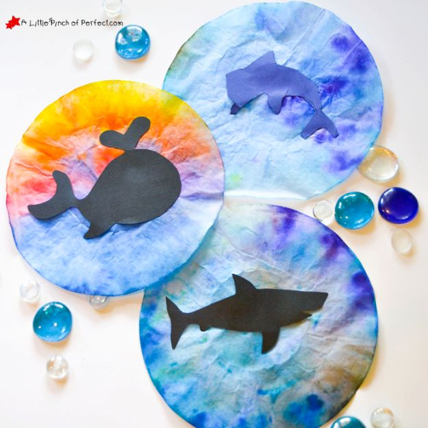 DIY Ideas for Kids To Make This Summer - Ocean Animal Coffee Filter Suncatchers - Fun Crafts and Cool Projects for Boys and Girls To Make at Home - Easy and Cheap Do It Yourself Project Ideas With Paint, Glue, Paper, Glitter, Chalk and Things You Can Find Around The House - Creative Arts and Crafts Ideas for Children #summer #kidscrafts