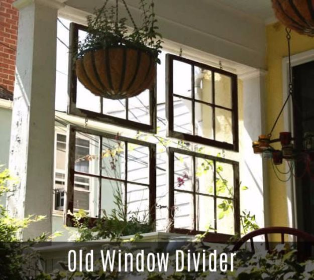 DIY Ideas With Old Windows - Old Window Divider - Rustic Farmhouse Decor Tutorials and Projects Made With An Old Window - Easy Vintage Shelving, Coffee Table, Towel Hook, Wall Art, Picture Frames and Home Decor for Kitchen, Living Room and Bathroom - Creative Country Crafts, Seating, Furniture, Patio Decor and Rustic Wall Art and Accessories to Make and Sell http://diyjoy.com/diy-projects-old-windows