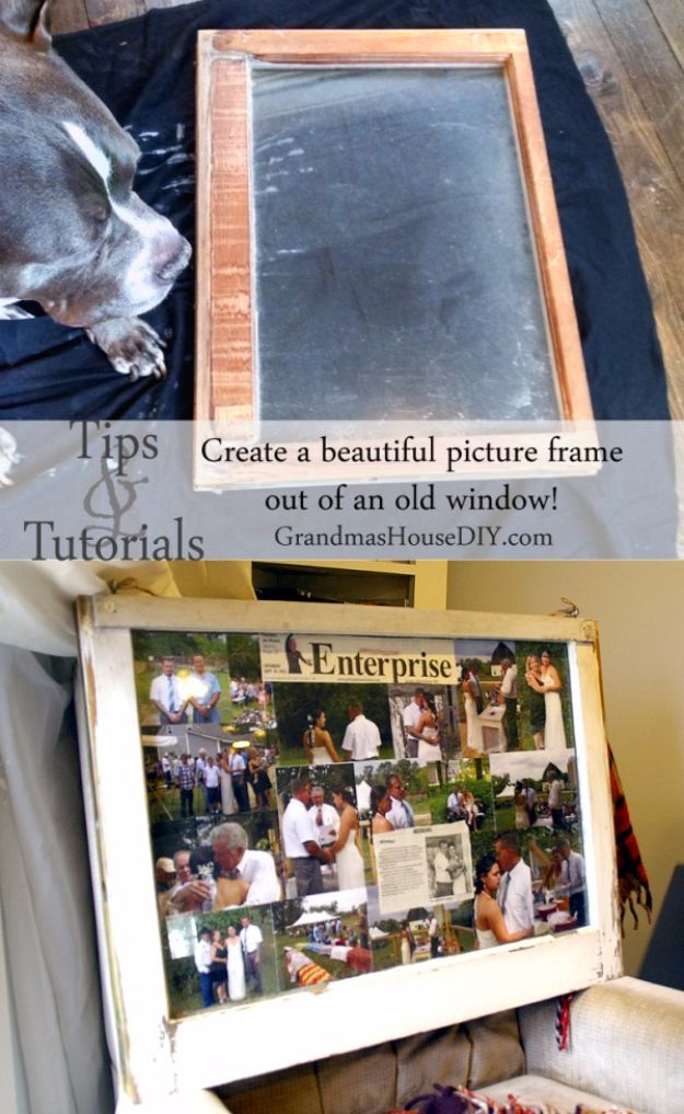 DIY Ideas With Old Windows - Old Window Picture Frame - Rustic Farmhouse Decor Tutorials and Projects Made With An Old Window - Easy Vintage Shelving, Coffee Table, Towel Hook, Wall Art, Picture Frames and Home Decor for Kitchen, Living Room and Bathroom - Creative Country Crafts, Seating, Furniture, Patio Decor and Rustic Wall Art and Accessories to Make and Sell http://diyjoy.com/diy-projects-old-windows