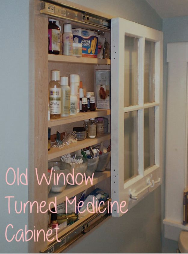 DIY Ideas With Old Windows - Old Window Turned Medicine Cabinet - Rustic Farmhouse Decor Tutorials and Projects Made With An Old Window - Easy Vintage Shelving, Coffee Table, Towel Hook, Wall Art, Picture Frames and Home Decor for Kitchen, Living Room and Bathroom - Creative Country Crafts, Seating, Furniture, Patio Decor and Rustic Wall Art and Accessories to Make and Sell http://diyjoy.com/diy-projects-old-windows