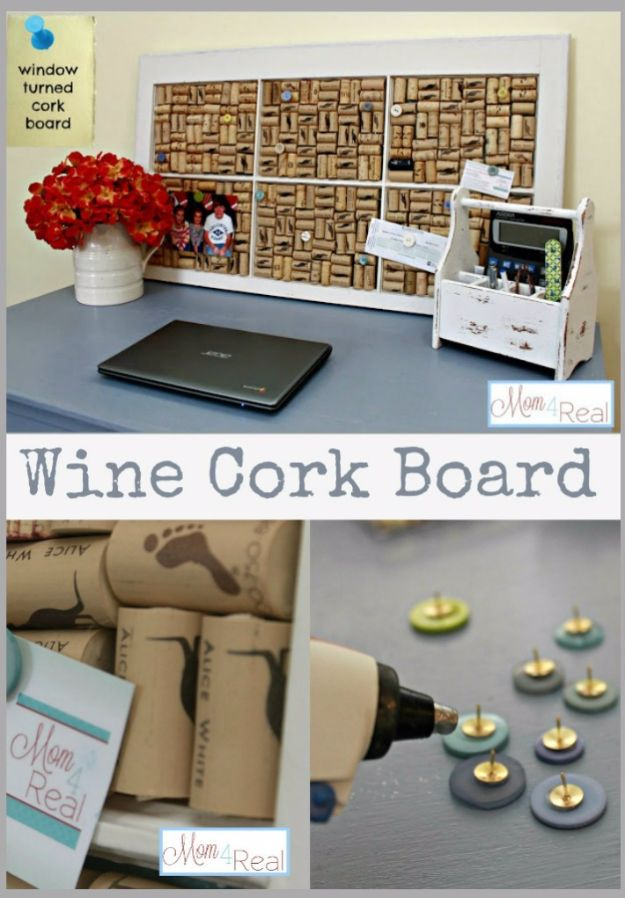 DIY Ideas With Old Windows - Old Window Turned Wine Cork Board - Rustic Farmhouse Decor Tutorials and Projects Made With An Old Window - Easy Vintage Shelving, Coffee Table, Towel Hook, Wall Art, Picture Frames and Home Decor for Kitchen, Living Room and Bathroom - Creative Country Crafts, Seating, Furniture, Patio Decor and Rustic Wall Art and Accessories to Make and Sell http://diyjoy.com/diy-projects-old-windows