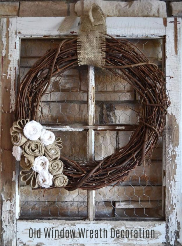DIY Ideas With Old Windows - Old Window Wreath Decoration - Rustic Farmhouse Decor Tutorials and Projects Made With An Old Window - Easy Vintage Shelving, Coffee Table, Towel Hook, Wall Art, Picture Frames and Home Decor for Kitchen, Living Room and Bathroom - Creative Country Crafts, Seating, Furniture, Patio Decor and Rustic Wall Art and Accessories to Make and Sell http://diyjoy.com/diy-projects-old-windows