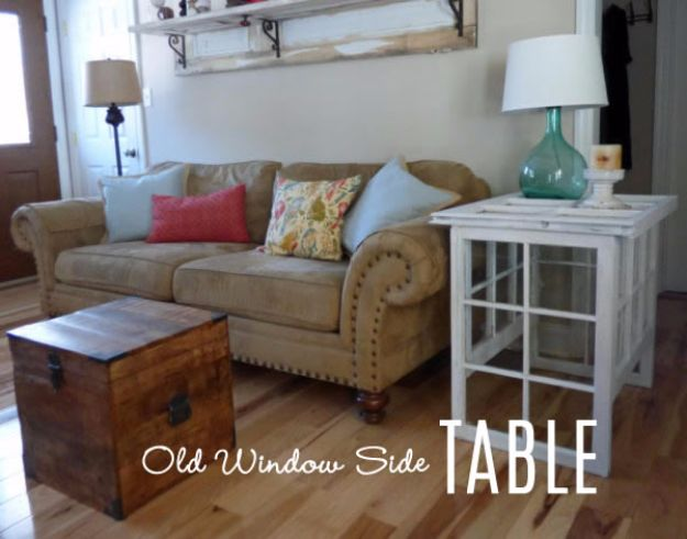 DIY Ideas With Old Windows - Old Window Side Table - Rustic Farmhouse Decor Tutorials and Projects Made With An Old Window - Easy Vintage Shelving, Coffee Table, Towel Hook, Wall Art, Picture Frames and Home Decor for Kitchen, Living Room and Bathroom - Creative Country Crafts, Seating, Furniture, Patio Decor and Rustic Wall Art and Accessories to Make and Sell http://diyjoy.com/diy-projects-old-windows