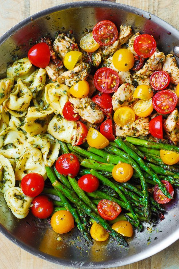 Best Recipe Ideas for Summer - One-Pan Pesto Chicken, Tortellini, and Veggies - Cool Salads, Easy Side Dishes, Recipes for Summer Foods and Dinner to Beat the Heat - Light and Healthy Ideas for Hot Summer Nights, Pool Parties and Picnics http://diyjoy.com/best-recipes-summer