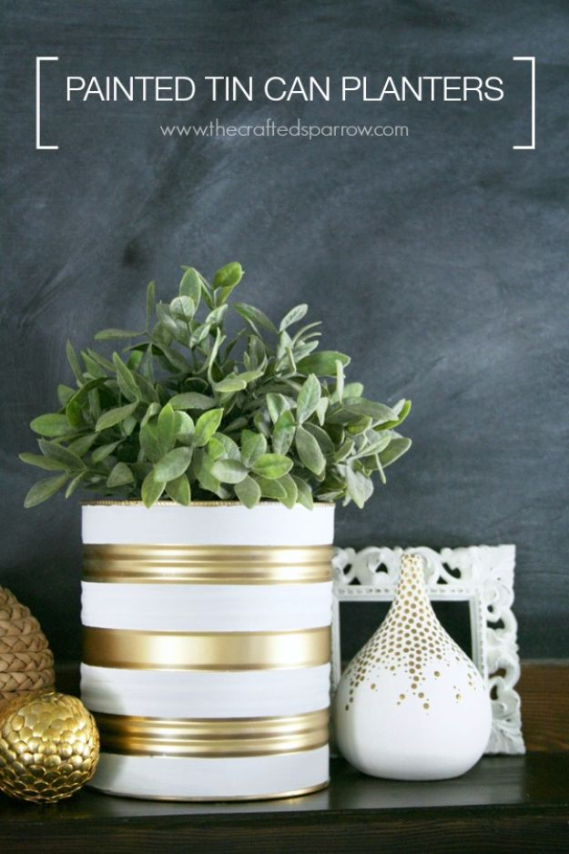 DIY Ideas With Old Tin Cans - Painted Tin Can Planters - Rustic Farmhouse Decor Tutorials and Projects Made With An Old Tin Can - Easy Vintage Shelving, Wall Art, Picture Frames and Home Decor for Kitchen, Living Room and Bathroom - Creative Country Crafts, Craft Room Storage, Silverware Holder, Rustic Wall Art and Accessories to Make and Sell http://diyjoy.com/diy-projects-tin-cans