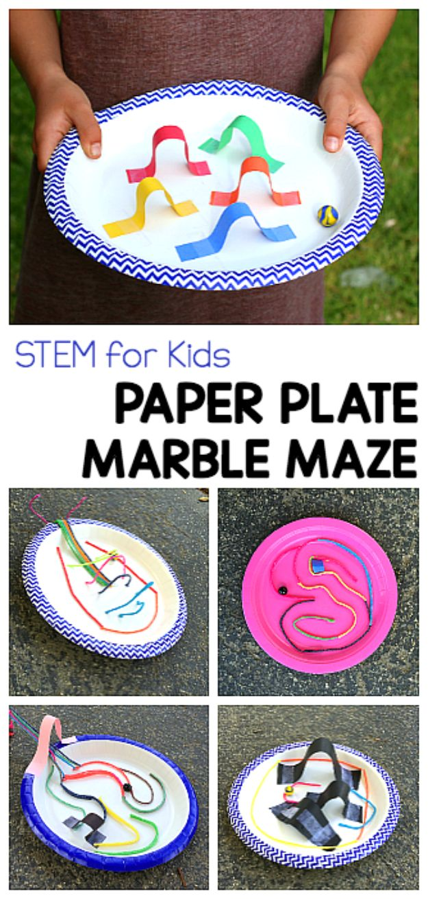 DIY Stem and Science Ideas for Kids and Teens - Paper Plate Marble Maze - Fun and Easy Do It Yourself Projects and Crafts Using Math, Electronics, Engineering Concepts and Basic Building Skills - Creatve and Cool Project Tutorials For Kids To Make At Home This Summer - Boys, Girls and Teenagers Have Fun Making Room Decor, Experiments and Playtime STEM Fun http://diyjoy.com/diy-stem-science-projects
