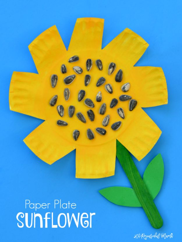 DIY Ideas for Kids To Make This Summer - Paper Plate Sunflower Craft - Fun Crafts and Cool Projects for Boys and Girls To Make at Home - Easy and Cheap Do It Yourself Project Ideas With Paint, Glue, Paper, Glitter, Chalk and Things You Can Find Around The House - Creative Arts and Crafts Ideas for Children #summer #kidscrafts