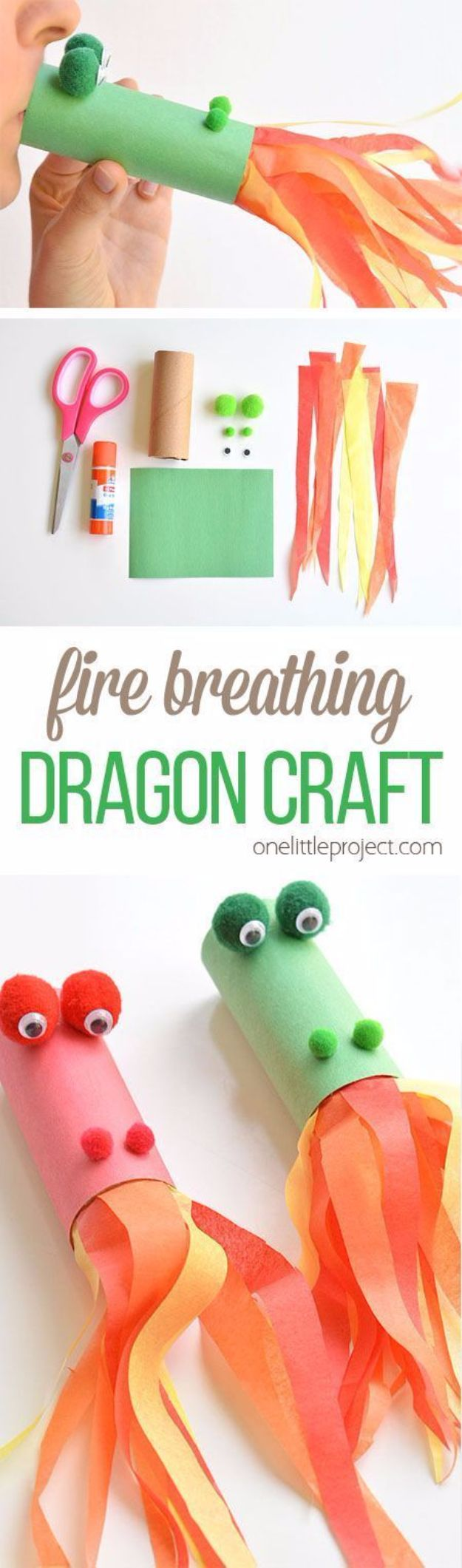 DIY Ideas for Kids To Make This Summer - Paper Roll Fire Breathing Dragon - Fun Crafts and Cool Projects for Boys and Girls To Make at Home - Easy and Cheap Do It Yourself Project Ideas With Paint, Glue, Paper, Glitter, Chalk and Things You Can Find Around The House - Creative Arts and Crafts Ideas for Children #summer #kidscrafts