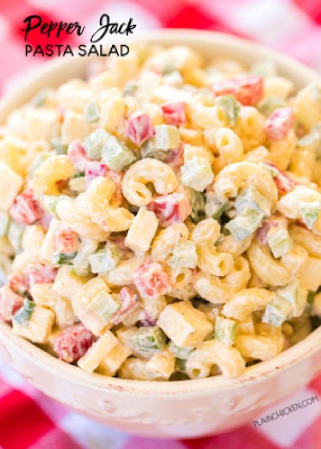Best Recipe Ideas for Summer - Pepper Jack Pasta Salad - Cool Salads, Easy Side Dishes, Recipes for Summer Foods and Dinner to Beat the Heat - Light and Healthy Ideas for Hot Summer Nights, Pool Parties and Picnics http://diyjoy.com/best-recipes-summer