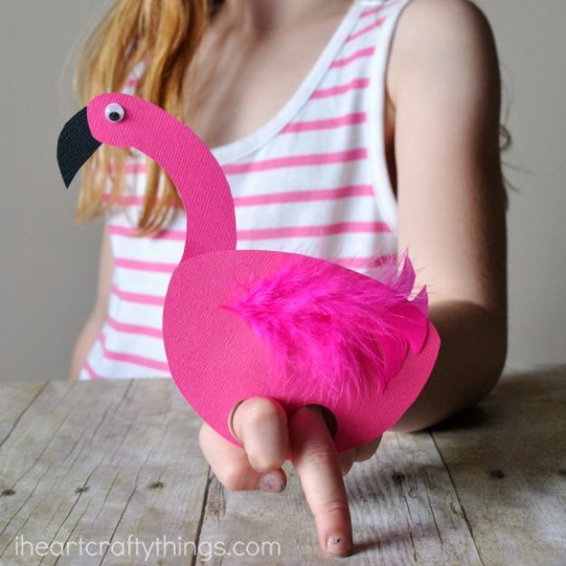 DIY Ideas for Kids To Make This Summer - Playful Flamingo Puppets - Fun Crafts and Cool Projects for Boys and Girls To Make at Home - Easy and Cheap Do It Yourself Project Ideas With Paint, Glue, Paper, Glitter, Chalk and Things You Can Find Around The House - Creative Arts and Crafts Ideas for Children #summer #kidscrafts