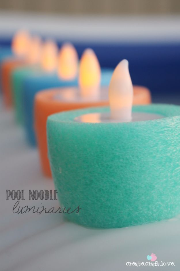 DIY Hacks for Summer - Pool Noodle Luminaries - Easy Projects to Try This Summer To Get Organized, Spend Time Outdoors, Play With The Kids, Stay Cool In The Heat - Tips and Tricks to Make Summertime Awesome - Crafts and Home Decor by DIY JOY