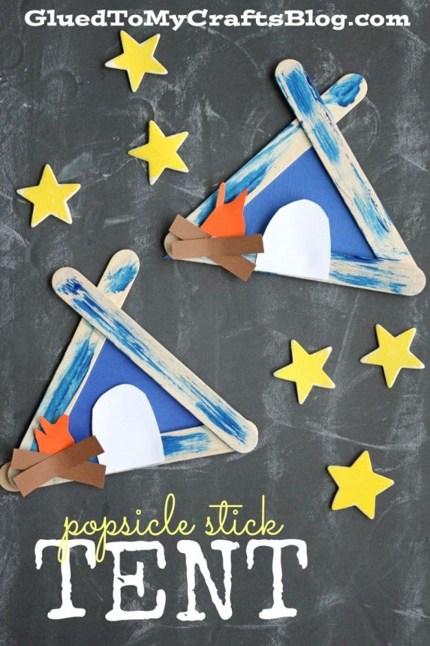 DIY Ideas for Kids To Make This Summer - Popsicle Stick Tent - Fun Crafts and Cool Projects for Boys and Girls To Make at Home - Easy and Cheap Do It Yourself Project Ideas With Paint, Glue, Paper, Glitter, Chalk and Things You Can Find Around The House - Creative Arts and Crafts Ideas for Children #summer #kidscrafts
