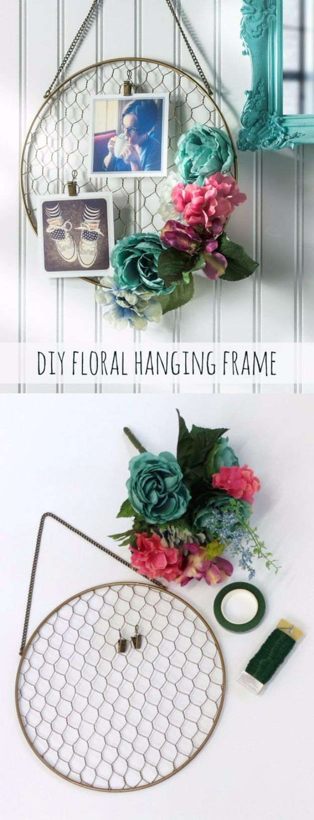 diy ideas chicken wire crafts -Pretty DIY Floral Hanging Frame - Rustic Farmhouse Decor Tutorials With Chickenwire and Easy Vintage Shabby Chic Home Decor for Kitchen, Living Room and Bathroom - Creative Country Crafts #diy #crafts