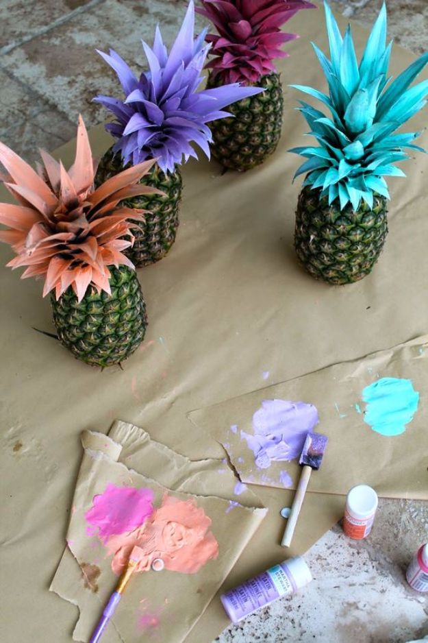 DIY Backyard Party Decor - Pretty Painted Pineapples - Cool Ideas for Decorations for Parties - Easy and Cheap Crafts for Summer Barbecues and Family Get Togethers, Swimming and Pool Party Fun - Step by Step Tutorials For Banners, Table Decor, Serving Ideas and Mason Jar Crafts http://diyjoy.com/diy-backyard-party-decor