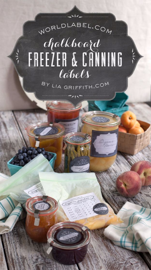 Free Printables for Mason Jars - Printable Chalkboard Style Freezer & Canning Jar Labels - Best Ideas for Tags and Printable Clip Art for Fun Mason Jar Gifts and Organization#masonjar #crafts #printables