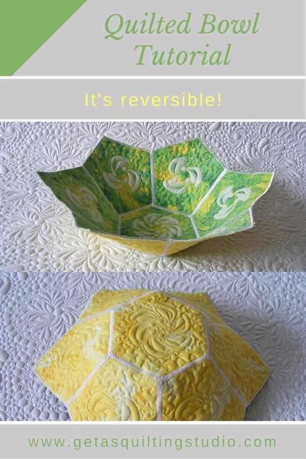 Best Quilting and Fabric Scraps Projects - Quilted Bowl - Easy Ideas for Making DIY Home Decor, Homemade Gifts, Wall Art , Kitchen Accessories, Clothes and Fashion from Leftover Fabric Scrap and Quilt Pieces - Cute Do It Yourself Ideas for Birthday, Christmas, Baby and Friends http://diyjoy.com/quilting-scraps-projects