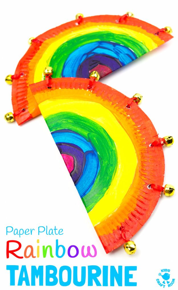 DIY Ideas for Kids To Make This Summer - Rainbow Paper Plate Tambourine - Fun Crafts and Cool Projects for Boys and Girls To Make at Home - Easy and Cheap Do It Yourself Project Ideas With Paint, Glue, Paper, Glitter, Chalk and Things You Can Find Around The House - Creative Arts and Crafts Ideas for Children #summer #kidscrafts