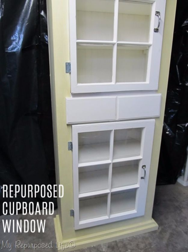DIY Ideas With Old Windows - Repurposed Cupboard Window - Rustic Farmhouse Decor Tutorials and Projects Made With An Old Window - Easy Vintage Shelving, Coffee Table, Towel Hook, Wall Art, Picture Frames and Home Decor for Kitchen, Living Room and Bathroom - Creative Country Crafts, Seating, Furniture, Patio Decor and Rustic Wall Art and Accessories to Make and Sell http://diyjoy.com/diy-projects-old-windows