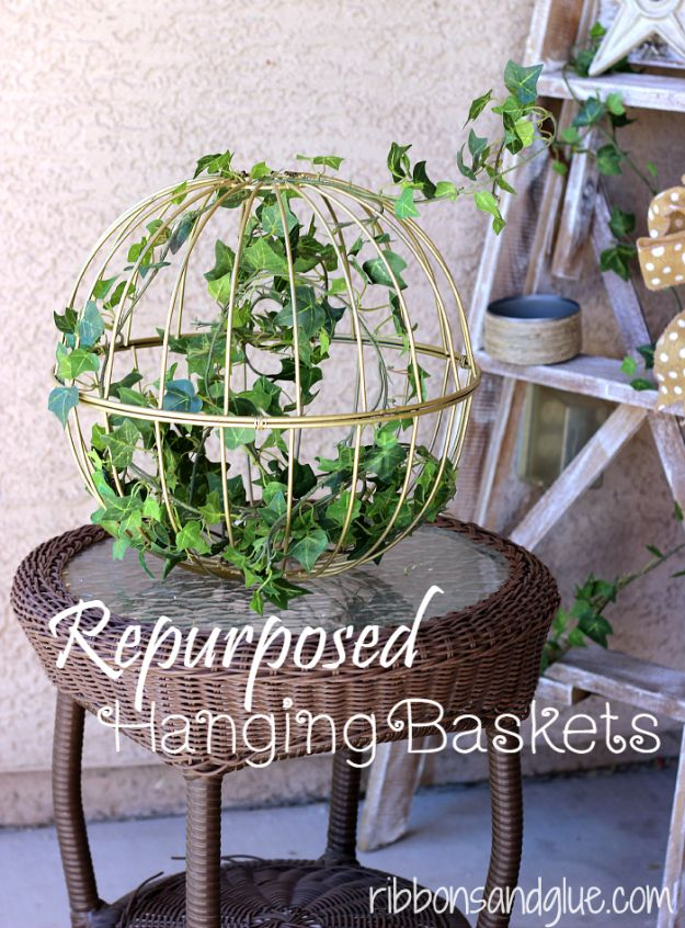 Best Country Decor Ideas for Your Porch - Repurposed Hanging Garden Baskets - Rustic Farmhouse Decor Tutorials and Easy Vintage Shabby Chic Home Decor for Kitchen, Living Room and Bathroom - Creative Country Crafts, Furniture, Patio Decor and Rustic Wall Art and Accessories to Make and Sell http://diyjoy.com/country-decor-ideas-porchs