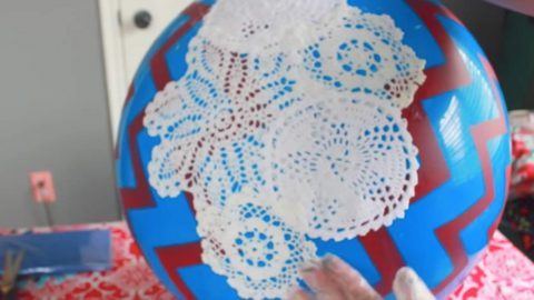 She Glues Doilies On A Ball And Turns It Into Something Magical (Watch!) | DIY Joy Projects and Crafts Ideas