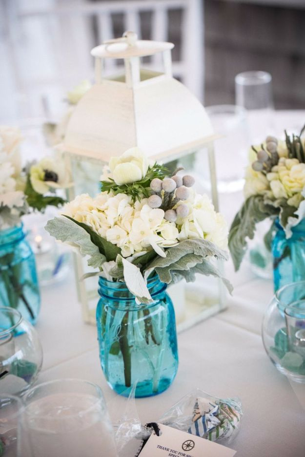 DIY Wedding Centerpieces -Rustic Blue Mason Jar Wedding Centerpiece - Do It  Yourself Ideas for