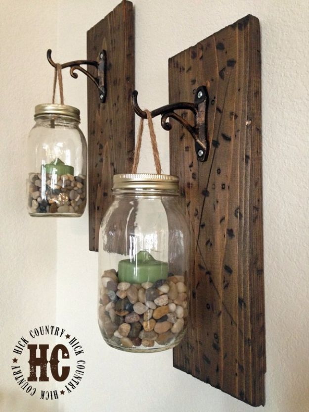Best Country Decor Ideas - Rustic DIY Mason Jar Wall Lanterns - Rustic Farmhouse Decor Tutorials and Easy Vintage Shabby Chic Home Decor for Kitchen, Living Room and Bathroom - Creative Country Crafts, Rustic Wall Art and Accessories to Make and Sell http://diyjoy.com/country-decor-ideas
