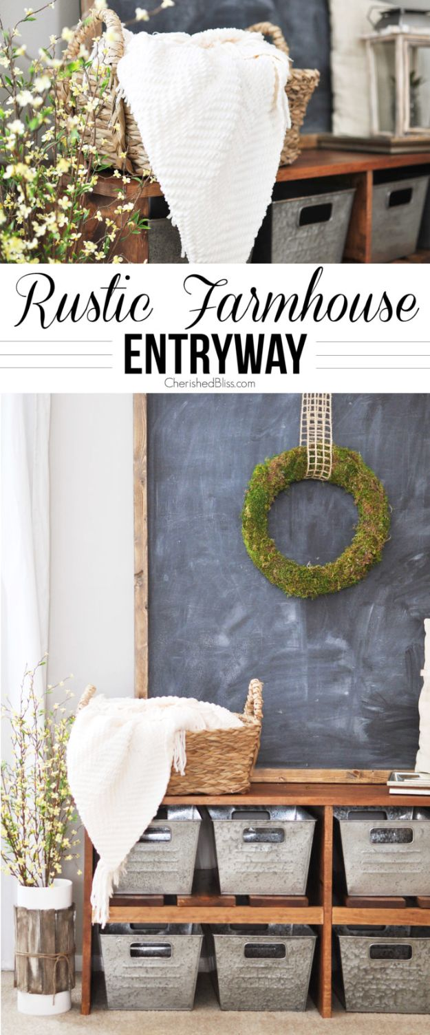 Best Country Decor Ideas - Rustic Farmhouse Entryway - Rustic Farmhouse Decor Tutorials and Easy Vintage Shabby Chic Home Decor for Kitchen, Living Room and Bathroom - Creative Country Crafts, Rustic Wall Art and Accessories to Make and Sell http://diyjoy.com/country-decor-ideas