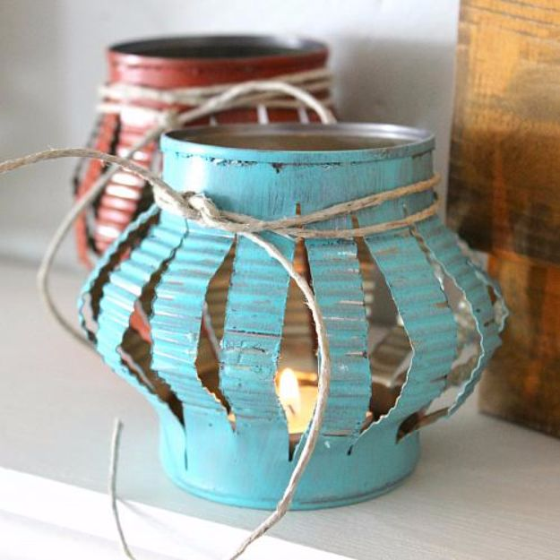 DIY Ideas With Old Tin Cans - Rustic Tin Can Tea Lights - Rustic Farmhouse Decor Tutorials and Projects Made With An Old Tin Can - Easy Vintage Shelving, Wall Art, Picture Frames and Home Decor for Kitchen, Living Room and Bathroom - Creative Country Crafts, Craft Room Storage, Silverware Holder, Rustic Wall Art and Accessories to Make and Sell http://diyjoy.com/diy-projects-tin-cans