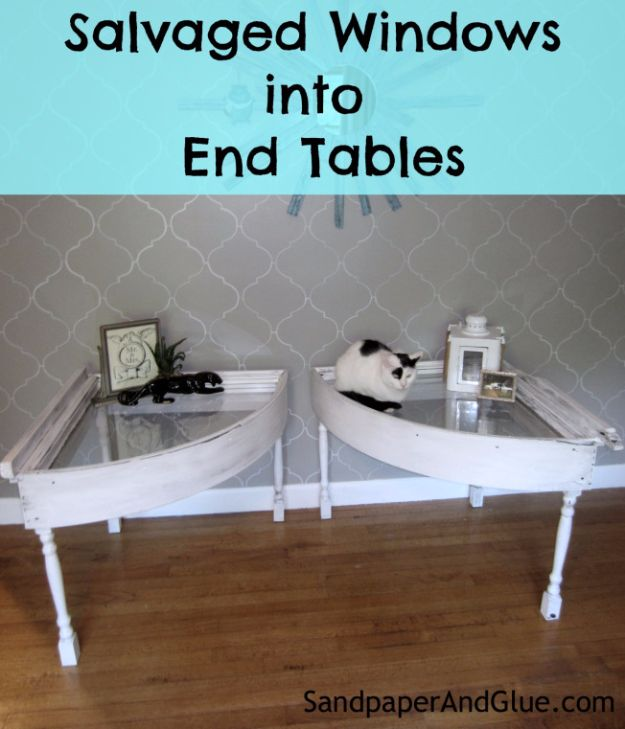 DIY Ideas With Old Windows - Salvaged Windows Into End Tables - Rustic Farmhouse Decor Tutorials and Projects Made With An Old Window - Easy Vintage Shelving, Coffee Table, Towel Hook, Wall Art, Picture Frames and Home Decor for Kitchen, Living Room and Bathroom - Creative Country Crafts, Seating, Furniture, Patio Decor and Rustic Wall Art and Accessories to Make and Sell http://diyjoy.com/diy-projects-old-windows