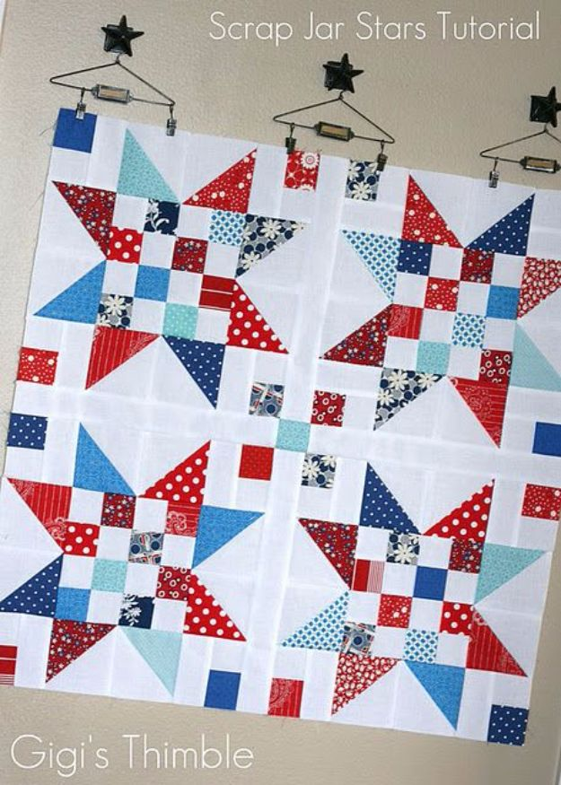 Best Quilting and Fabric Scraps Projects - Scrap Jar Stars - Easy Ideas for Making DIY Home Decor, Homemade Gifts, Wall Art , Kitchen Accessories, Clothes and Fashion from Leftover Fabric Scrap and Quilt Pieces - Cute Do It Yourself Ideas for Birthday, Christmas, Baby and Friends http://diyjoy.com/quilting-scraps-projects