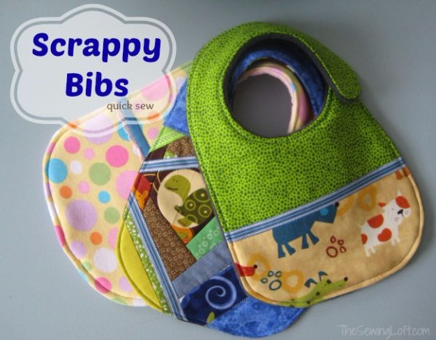 Best Quilting and Fabric Scraps Projects - Scrappy Baby Bibs - Easy Ideas for Making DIY Home Decor, Homemade Gifts, Wall Art , Kitchen Accessories, Clothes and Fashion from Leftover Fabric Scrap and Quilt Pieces - Cute Do It Yourself Ideas for Birthday, Christmas, Baby and Friends http://diyjoy.com/quilting-scraps-projects