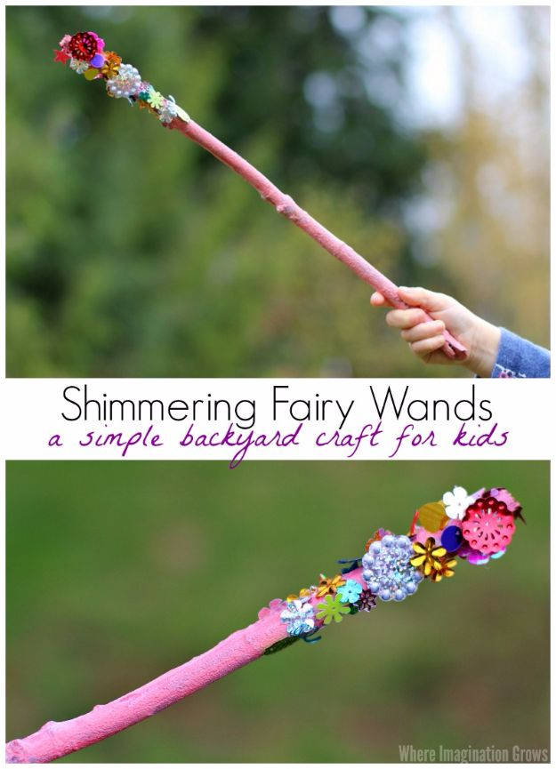 DIY Ideas for Kids To Make This Summer - Shimmering Fairy Wand - Fun Crafts and Cool Projects for Boys and Girls To Make at Home - Easy and Cheap Do It Yourself Project Ideas With Paint, Glue, Paper, Glitter, Chalk and Things You Can Find Around The House - Creative Arts and Crafts Ideas for Children #summer #kidscrafts