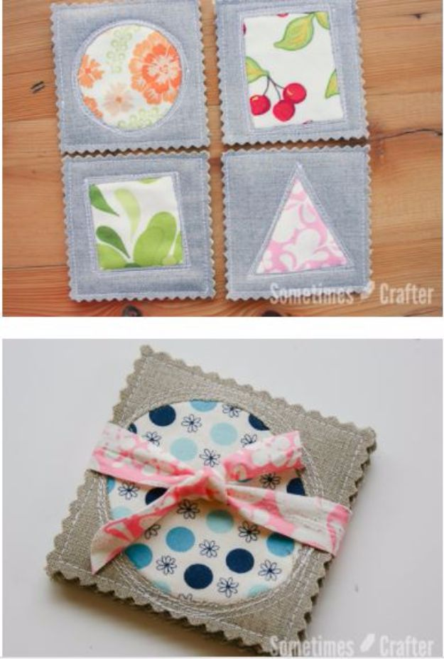 Best Quilting and Fabric Scraps Projects - Simple Coasters - Easy Ideas for Making DIY Home Decor, Homemade Gifts, Wall Art , Kitchen Accessories, Clothes and Fashion from Leftover Fabric Scrap and Quilt Pieces - Cute Do It Yourself Ideas for Birthday, Christmas, Baby and Friends http://diyjoy.com/quilting-scraps-projects