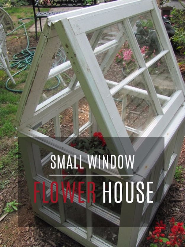 DIY Ideas With Old Windows - Small Window Flower House - Rustic Farmhouse Decor Tutorials and Projects Made With An Old Window - Easy Vintage Shelving, Coffee Table, Towel Hook, Wall Art, Picture Frames and Home Decor for Kitchen, Living Room and Bathroom - Creative Country Crafts, Seating, Furniture, Patio Decor and Rustic Wall Art and Accessories to Make and Sell http://diyjoy.com/diy-projects-old-windows