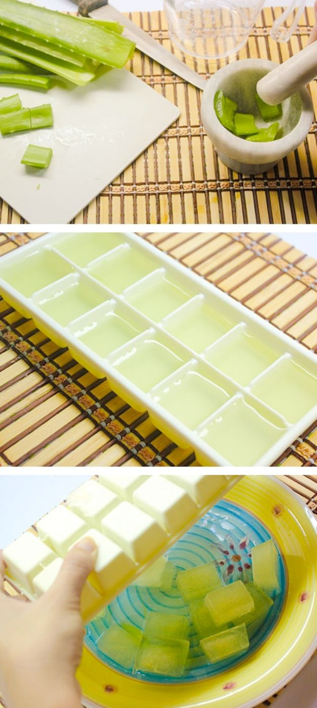 DIY Hacks for Summer - Soothing Aloe Vera Ice Cubes - Easy Projects to Try This Summer To Get Organized, Spend Time Outdoors, Play With The Kids, Stay Cool In The Heat - Tips and Tricks to Make Summertime Awesome - Crafts and Home Decor by DIY JOY http://diyjoy.com/diy-hacks-summer
