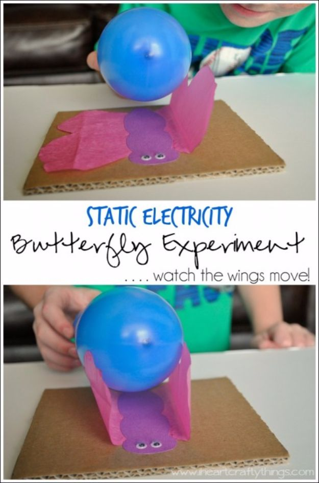 DIY Stem and Science Ideas for Kids and Teens - Static Electricity Butterfly Experiment - Fun and Easy Do It Yourself Projects and Crafts Using Math, Electronics, Engineering Concepts and Basic Building Skills - Creatve and Cool Project Tutorials For Kids To Make At Home This Summer - Boys, Girls and Teenagers Have Fun Making Room Decor, Experiments and Playtime STEM Fun #stem #diyideas #stemideas #kidscrafts