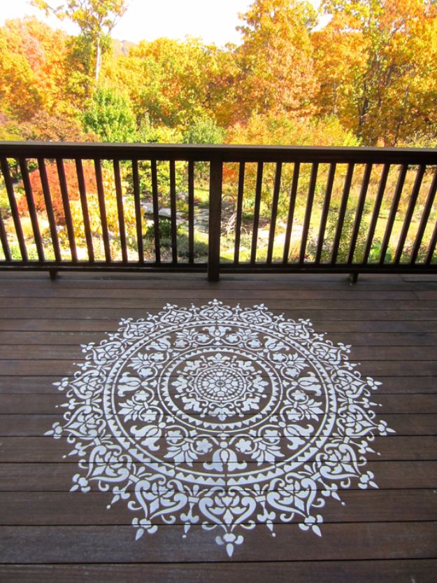 DIY Stencil Ideas - Stencil A Deck Using Mandala Pattern - Cool and Easy Stenciling Tutorials For Making Handmade Wallpaper and Designs, Furniture Makeover Ideas and Crafty Modern Decor With Stencils - Rustic Farmhouse Paint Techniques and Step by Step Instructions for Using Stencil Art in Your Living Room, Bedroom, Bathroom and Crafts