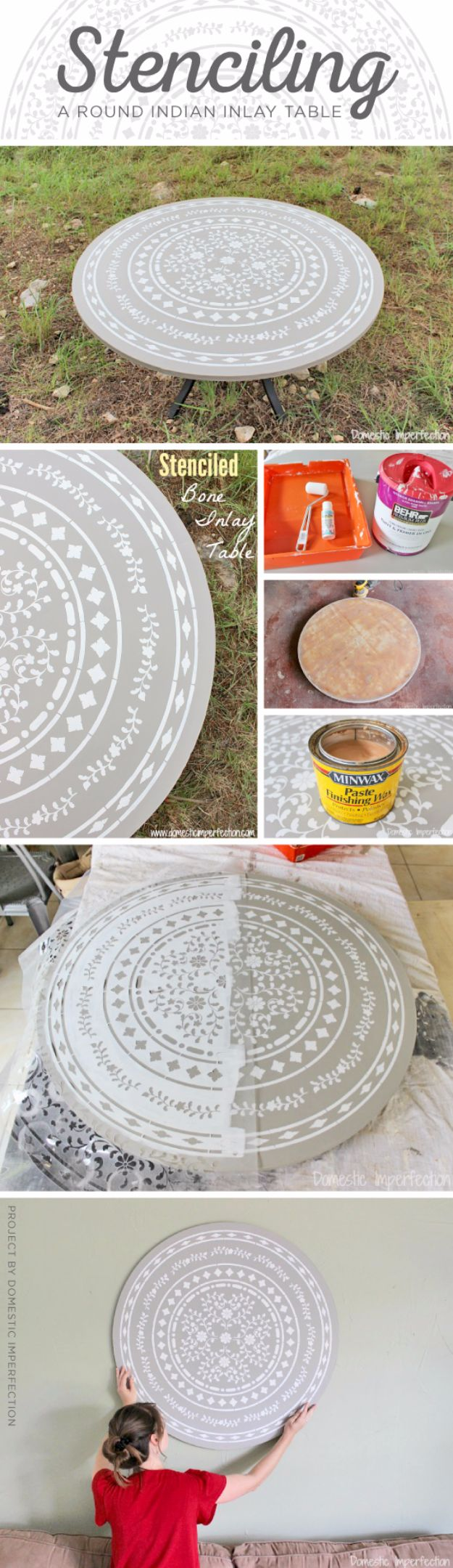 DIY Stencil Ideas - Stencil A Round Indian Inlay Table - Cool and Easy Stenciling Tutorials For Making Handmade Wallpaper and Designs, Furniture Makeover Ideas and Crafty Modern Decor With Stencils - Rustic Farmhouse Paint Techniques and Step by Step Instructions for Using Stencil Art in Your Living Room, Bedroom, Bathroom and Crafts