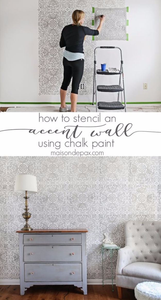 DIY Stencil Ideas - Stencil An Accent Wall - Cool and Easy Stenciling Tutorials For Making Handmade Wallpaper and Designs, Furniture Makeover Ideas and Crafty Modern Decor With Stencils - Rustic Farmhouse Paint Techniques and Step by Step Instructions for Using Stencil Art in Your Living Room, Bedroom, Bathroom and Crafts http://diyjoy.com/diy-stencil-ideas-projects