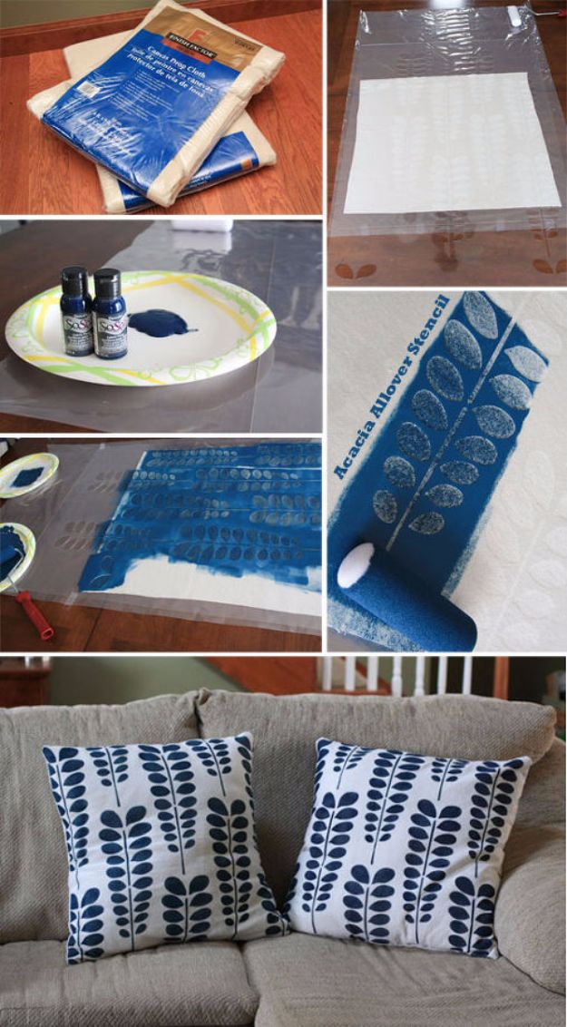 DIY Stencil Ideas - Stencil DIY Pillow Shams - Cool and Easy Stenciling Tutorials For Making Handmade Wallpaper and Designs, Furniture Makeover Ideas and Crafty Modern Decor With Stencils - Rustic Farmhouse Paint Techniques and Step by Step Instructions for Using Stencil Art in Your Living Room, Bedroom, Bathroom and Crafts http://diyjoy.com/diy-stencil-ideas-projects