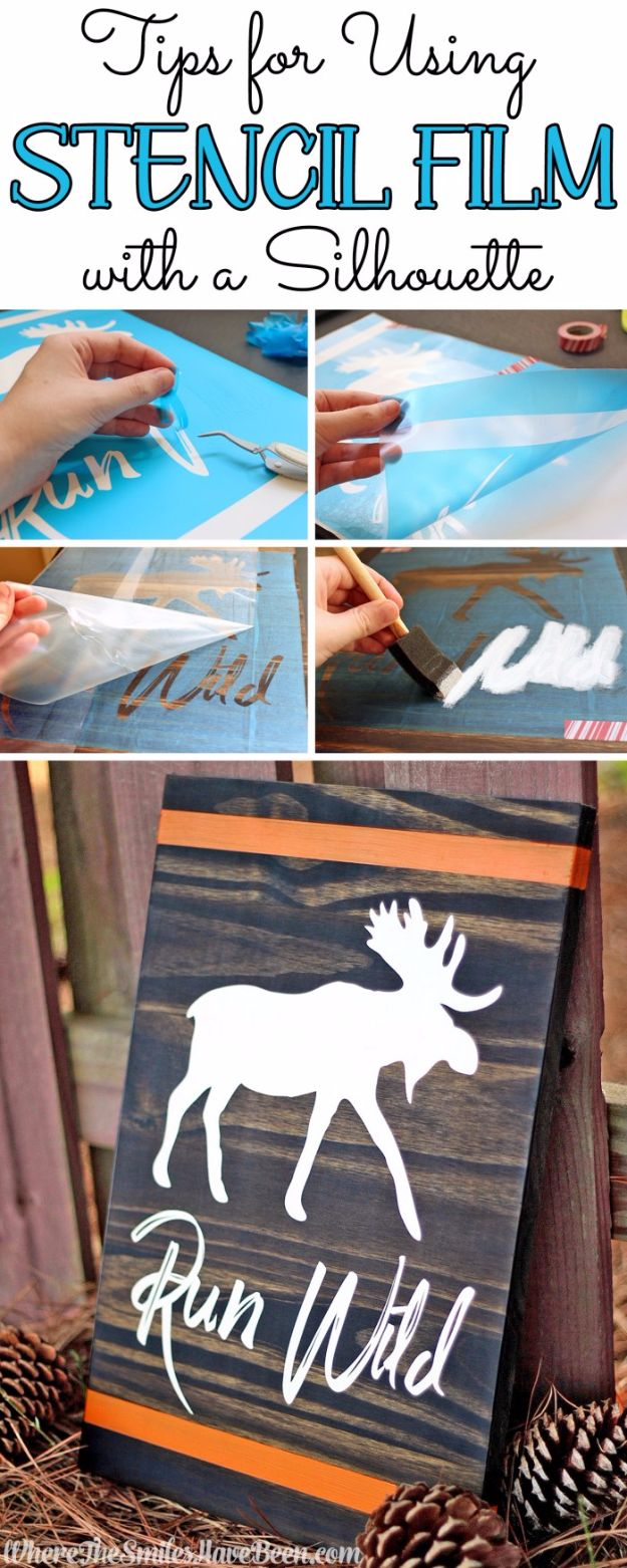 DIY Stencil Ideas - Stencil Film with a Silhouette - Cool and Easy Stenciling Tutorials For Making Handmade Wallpaper and Designs, Furniture Makeover Ideas and Crafty Modern Decor With Stencils - Rustic Farmhouse Paint Techniques and Step by Step Instructions for Using Stencil Art in Your Living Room, Bedroom, Bathroom and Crafts http://diyjoy.com/diy-stencil-ideas-projects